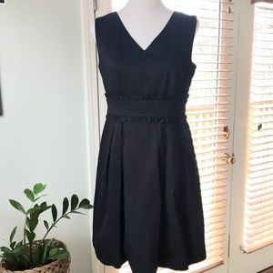 Tahari ASL Navy A Line Dress W/ Pockets 8 Petite